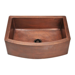 "MR Direct - Single Bowl Copper Apron Sink - The 914 single bowl apron sink is made from 99% pure-mined copper. It is comprised using one piece construction, giving you a very strong and durable copper sink. Since copper is naturally anti-bacterial and stain resistant, it is great for busy households that benefit from low-maintenance materials. The hammered finish looks great and provides a mask for small scratches that may appear over time. The overall dimensions of the 914 are  and a custom apron style cabinet is required. The sink contains a centered 3 1/2"" drain opening and copper strainers and flanges are available. The hand-crafted copper details are sure to add warmth and richness to any decor."