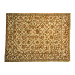 1800-Get-A-Rug - Hand Knotted Ivory Agra 100% Wool Vegetable Dyes Oriental Rug Sh13981 - The Rajasthan rug features Persian floral designs with the twist of a transitional interpretation. By area, Rajasthan is the largest state in India by area, where these beautiful handwoven rugs originate. Majestic golds and reds make pieces from this collection especially arresting in an interior setting.