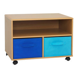 "4D Concepts - 4D Concepts Boy's TV Cart in Beech - This uniquely styled TV cart is great for any room in the home. The vacuumed formed top with gently rolled edges give the cart that added touch of style. The unit is accented with foldable navy and light blue canvas drawers (Drw 12.5""w x 17""d x 8.75""h) that are great storage of games, play stations, and all of your gaming needs. All drawers rest gently on the shelf and have canvas handles on both sides of the drawer for pulling out of the unit, or pulling completely out and taking with you to another room in the house. The large opening beneath the TV shelf is great for gaming systems, DVD players, etc. The dual hooded casters makes it easy to move from room. Constructed of metal and composite wood with durable PVC laminate. Holds most 27"" TV's. Clean with a dry non abrasive cloth. Assembly is required."