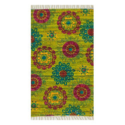 """Loloi Rugs - Loloi Rugs Aria Collection - Lime / Pink, 1'-9"""" x 5' - Expressive and relaxed, stylish and fun. The Aria Collection from India has it all. Pretty paisley patterns, flourishing flowers, dreamy damasks and magical medallion designs are printed onto 100% recycled cotton Chindi for scatter rugs that are flirty and fashionable. Dressed in a palette of bold, saturated colors that take you from cool blues and pinks to warm spice tones and modern tropical hues, too, Aria rugs come in select scatter sizes that will accent choice spaces with flair."""
