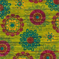 """Loloi Rugs - Loloi Rugs Aria Collection - Lime / Pink, 1'-8"""" x 3' - Expressive and relaxed, stylish and fun. The Aria Collection from India has it all. Pretty paisley patterns, flourishing flowers, dreamy damasks and magical medallion designs are printed onto 100% recycled cotton Chindi for scatter rugs that are flirty and fashionable. Dressed in a palette of bold, saturated colors that take you from cool blues and pinks to warm spice tones and modern tropical hues, too, Aria rugs come in select scatter sizes that will accent choice spaces with flair."""