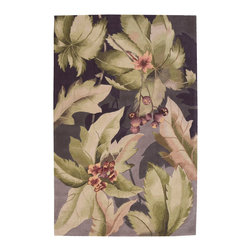 """Nourison - Nourison Tropics TS03 7'6"""" x 9'6"""" Plum Area Rug 81925 - Like a tropical garden at dusk, shades of shadowy plum form a mysterious backdrop for a lively pattern of soft green leaves and graceful blossoms in delicate rose madder. A charming rug, at once subtle and spectacular."""