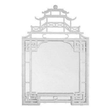 White Chinoiserie Pagoda Mirror -