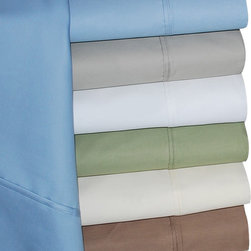 Bed In A Bag - HC 600TC Cotton Rich Solid Sheet Set - Dress up your bedroom decor with this luxurious 600 thread count Cotton Rich sheet set. A superior blend of materials makes these sheets soft, easy to care for and wrinkle resistant. Each sheet set is made of 55% Cotton and 45% Polyester. Each Sheet Set Includes: One Flat sheet, One Fitted sheet, Two Pillowcases (one pillowcase with twin and twin xl). Available Sizes: Twin, Twin XL, Full, Queen, King, California King.  Solid Colors Available: Ivory, Light Blue, Sage, Stone, Taupe, White  Care instructions: Machine washable. Please follow the care instructions on the label carefully to minimize wrinkling and/or shrinkage. Remove bedding from the dryer promptly and press with a warm iron if necessary.