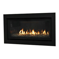 Empire - Boulevard Contemporary Linear Direct-Vent Fireplace - Liquid Propane - The Contemporary features a linear burner, halogen lighting mounted beneath the burner, and a black porcelain liner. The rich liner reflects the flames and the lighting. Decorative ceramic glass panels, available as an accessory, add visual interest to the fireplace interior and complement the flames. Use the remote control to raise or lower the lighting levels and the panels glow red along their edges.