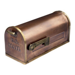 "Grandin Road - Copper Mailbox - 8""W x 8-1/2""H x 21""L. Post sold separately. Hardware not included."