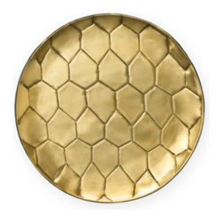 """""""Powerstone"""" Round Tray - I've had this Diane von Furstenber gold handmade tray on my wish list for a while now. The hand stamped metal tray would be a perfect hostess gift!"""