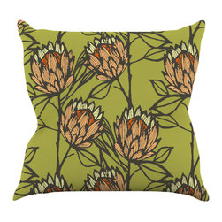 """Kess InHouse - Gill Eggleston """"Protea Olive"""" Green Orange Throw Pillow (20"""" x 20"""") - Rest among the art you love. Transform your hang out room into a hip gallery, that's also comfortable. With this pillow you can create an environment that reflects your unique style. It's amazing what a throw pillow can do to complete a room. (Kess InHouse is not responsible for pillow fighting that may occur as the result of creative stimulation)."""
