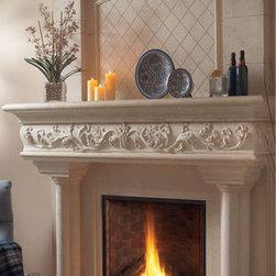 "Caledon stone fireplace overmantel - ""omega cast stone fireplace mantle"""