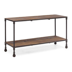 Modern Industrial 2-Tier Shelves - Pair the warm imperfection of reclaimed wood with the serious character of aged metal frames for a modern industrial look. Store books, display loose items, and wheel this storage system around the loft as needed.