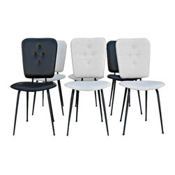 """Used Vintage Black & White Dining Chairs - Set of 6 - Create a retro and graphic seating area in your home with these super cool French Mid-Century dining chairs; 4 were reupholstered in white vinyl and 2 come in black vinyl. All feature a delightful 4 button tufting detail and have black iron legs. Bottom and back seat cushion are slightly curved for comfort. Seat height is 17""""."""