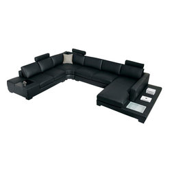 VIG Furniture - Divani Casa T35 - Modern Leather Sectional Sofa with Light - Black Leather Sectional sofa set Solid hard-wood used in the frame construction. All of the seats and backs are high density (1.9) foam to give comfort and support. Wooden end table on one side of the sectional. Side Light on the chaise. Solid wood legs in espresso color.