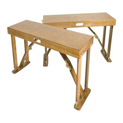 Spiderlegs - Portable Folding Bench - Features: -Set of two portable folding benches.-Polyester top.-Unique patented folding design.-Hinge lock can be released by pressing the solid brass lock buttons.-Each bench folds flat and can be clasped together for easy storage.-Built in carry handle for easy transport.-Accommodate up to two adults.-Clean with a damp cloth.-Can be store under a bed, stand up in a coat closets, car trunk or RV bins, etc..-May be used indoors or outdoors.-Renew wood surfaces with wood care products.-Wooden construction.-Distressed: No.-Collection: Portable Folding.-Seating Capacity: 2.-Number of Items Included: 2.-Cushions Included: No.-Lid Included: No.-Upholstered: No.-Foldable: Yes.-Tray Included: No.-Powder Coated Finish: No.-Storage Included: No.-Material: Wood.-Solid Wood Construction: No.-Outdoor Use: Yes.-Legs Included: Yes -Leg Material: Wood.-Removable Legs: No..-Hardware Material: Plated steel.-Swatch Available: No.-Commercial Use: No.-Recycled Content: No.-Eco-Friendly: Yes.-Hardware Finish: Plated steel.-Product Care: Wipe clean with a damp cloth, renew with wood care products.-Weight Capacity: 300 lbs.Dimensions: -Overall Product Weight: 12 lbs.-Overall Height - Top to Bottom : 18.-Overall Width - Side to Side : 38.-Overall Depth - Front to Back : 13.-Seat Height: 15.9.-Arms : No.-Legs: -Leg Width - Side to Side: 2.25.-Leg Depth - Front to Back: .75..-Storage Compartment: No.Assembly: -Assembly Required: No.Warranty: -Manufacturer provides one year's warranty.