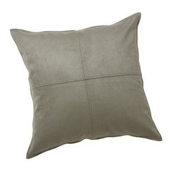 "Faux Suede Pillow Cover 24"" sq., Metal Gray - Soft as real suede, our plush pillow is pleasing to the touch and brings understated elegance to a sofa, chair or bed. 24"" square Front panel made of polyester. Back panel made of linen and is a solid flax color. Zipper closure. Insert sold separately; down blend or synthetic. Dry-clean for best results. Imported."
