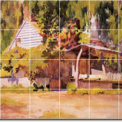 Picture-Tiles, LLC - The Summer House Tile Mural By Thomas Anschutz - * MURAL SIZE: 17x25.5 inch tile mural using (24) 4.25x4.25 ceramic tiles-satin finish.