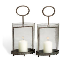Interlude - Interlude Rana Lanterns - Pair - An oval cylindrical silhouette brings an inventive twist to these great looking metal and glass lanterns.