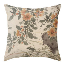 "Poetic Pillow - Orange Blossoms Pillow P1 - 26"" Euro Pillow - This pillow was inspired by the fine works of art in imperial China. From Tang dynasty to Qing dynasty, we found beautiful calligraphic works depicting botanical floras, cultural traditions, landscape and scenic views. Transform any space with a pillow from Poetic Pillow. Each pillow is inspired by fine works of art and printed on the front and back. Covers are made of pre-shrunk satin-like polyester fabric. All seams are finished to prevent fraying and pillow covers have a knife edge finish. A concealed zipper allows for ease of inputting pillow inserts. Cushion inserts are encased in a cotton cover and filled with 100% duck feather for soft yet supportive feel. All research, design and packaging is completed in Oakland, California."