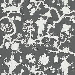 Shantung Silhouette Print - Smoke - Wallpaper - Shantung Silhouette Wallcovering comes in Mineral, Sand, Smoke, and Wisteria.