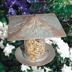 """6"""" Pinecone Tube Bird Feeder - Add the intricately designed 6"""" Pinecone Tube Bird Feeder to your home's exterior. It is made of durable cast aluminum and is offered in several premium finishes."""