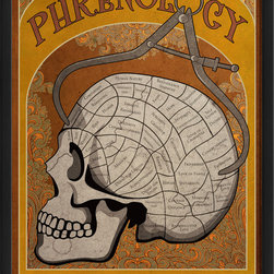 "The Artwork Factory - 'Phrenology' Poster Print - This is a major head-trip: The study of phrenology studies the relationships between a person's character and measurements of their scull shape. For example, people who love this amazing and beautifully reproduced print probably have an enlarged ""fun"" area somewhere on their cranium. Would that be you?"