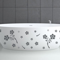 StickONmania - Bathtub Design Decal #15 - These decals come with two of each element mirrored, you choose how to place them.A vinyl decal sticker that lets you choose how to decorate. Decorate your home with original vinyl decals made to order in our shop located in the USA. We only use the best equipment and materials to guarantee the everlasting quality of each vinyl sticker. Our original wall art design stickers are easy to apply on most flat surfaces, including slightly textured walls, windows, mirrors, or any smooth surface. Some wall decals may come in multiple pieces due to the size of the design, different sizes of most of our vinyl stickers are available, please message us for a quote. Interior wall decor stickers come with a MATTE finish that is easier to remove from painted surfaces but Exterior stickers for cars,  bathrooms and refrigerators come with a stickier GLOSSY finish that can also be used for exterior purposes. We DO NOT recommend using glossy finish stickers on walls. All of our Vinyl wall decals are removable but not re-positionable, simply peel and stick, no glue or chemicals needed. Our decals always come with instructions and if you order from Houzz we will always add a small thank you gift.