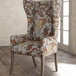 "Horchow - Pheasant Host Chair - Distinctive host chair adds flair to any setting. Imported. Handcrafted of hardwood and Peruvian oak with a distressed finish. Pheasant-print linen/rayon upholstery. 24""W x 22""D x 44""T."
