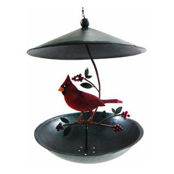 Blue Handworks - Cardinal Bistro Bird Feeder - Cardinal and holly berries feeder by Blue Handworks. Handcrafted in Bali of powder-coated metal. Roof and drainage holes help to keep the seed dry. Charming garden decor with or without the seed. Makes a great gift.
