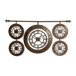 Uttermost - Time Zones Clock Hand Forged Wrought Iron Clock Set, 63x34 - Create  a  unique  display  of  time  around  the  world  with  this  elegantly  designed  clock  grouping.    Each  clock  features  the  time  of  different  locales  around  the  world  while  being  beautifully  finished  to  add  an  element  of  style  as  well  as  function.  A  wrought  iron  rod  supports  a  unique  display  of  five  different  time  zone  clocks,  including  your  local  time,  and  set  the  time  in  Beijing,  Sidney,  New  York,  and  Moscow.  Heavily  distressed  chocolate  wash  with  black  speckle  paint.  Quartz  movement.