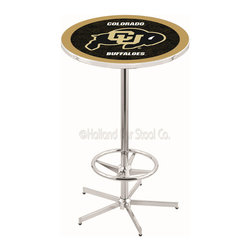 Holland Bar Stool - Holland Bar Stool L216 - 42 Inch Chrome Colorado Pub Table - L216 - 42 Inch Chrome Colorado Pub Table  belongs to College Collection by Holland Bar Stool Made for the ultimate sports fan, impress your buddies with this knockout from Holland Bar Stool. This L216 Colorado table with retro inspried base provides a quality piece to for your Man Cave. You can't find a higher quality logo table on the market. The plating grade steel used to build the frame ensures it will withstand the abuse of the rowdiest of friends for years to come. The structure is triple chrome plated to ensure a rich, sleek, long lasting finish. If you're finishing your bar or game room, do it right with a table from Holland Bar Stool.  Pub Table (1)
