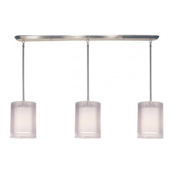 Joshua Marshal - Three Light Brushed Nickel Organza White Shade Island Light - Finish: Brushed Nickel