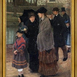 """Lauritz Andersen Ring-18""""x24"""" Framed Canvas - 18"""" x 24"""" Lauritz Andersen Ring On the Way to Church framed premium canvas print reproduced to meet museum quality standards. Our museum quality canvas prints are produced using high-precision print technology for a more accurate reproduction printed on high quality canvas with fade-resistant, archival inks. Our progressive business model allows us to offer works of art to you at the best wholesale pricing, significantly less than art gallery prices, affordable to all. This artwork is hand stretched onto wooden stretcher bars, then mounted into our 3"""" wide gold finish frame with black panel by one of our expert framers. Our framed canvas print comes with hardware, ready to hang on your wall.  We present a comprehensive collection of exceptional canvas art reproductions by Lauritz Andersen Ring."""