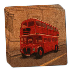 """Made on Terra - British Red Double Decker Bus Thin Cork Coaster Set of 4 - You're just cleaning up after your epic party when you realize it... something's different. Unlike all those other times, you're not mopping up cup condensation from your counters and tables. This time, everyone used a coaster. Everyone. Maybe it's because you handed out a coaster with every glass. No. You've tried that before. No, this time it's because of the actual coasters. You found the cutest Made On Terra printed cork coasters. You love that everyone commented on how unique they were,  from the light-weight, thin cork material to the printing that creates a cool and subtle effect. Plus, they're really absorbent, but dry quickly. And they're made from an eco-friendly, sustainable resource, so that makes you feel pretty great, too. Choose from Made on Terra's many fabulous cork coasters. Measures 4"""" x 4"""" x 1/8"""". Made of thin cork. Super cute and nicely absorbent. Sold in sets of four."""