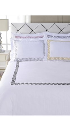 Bedding Web Store - 3PC Cotton Duvet Cover Set-Clayton, Gold, King/Calking - This Duvet Cover Set will beautify your bedroom with an elegant look.  The set is made with 100% cotton featuring a colored design on top of a white background.  Several design colors are available providing an easy method of upgrading the look of your bedroom without spending a large amount of money.