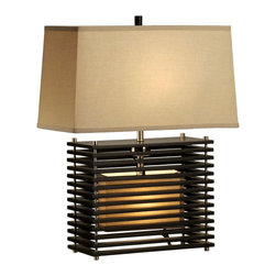 NOVA Lighting - Kimura, Reclining Table Lamp - Inspired by Japanese use of slats as an architectural feature this beautifully crafted lamp will add elegance to any living room or bedroom. The delicacy of the base is a striking feature in this collection bringing modern style together with Asian design influences.