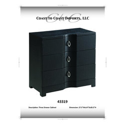 Coast To Coast - Black Three Drawer Chest - 43319 - Inspired by the texture of woven natural fibers
