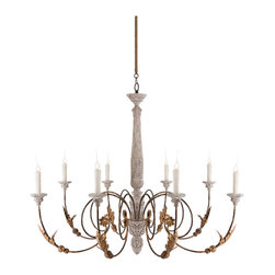 Kathy Kuo Home - Pauline Large French Country 8 Light Curled Iron Arm Chandelier - This high French Country chandelier is dramatic and oversize to setting the tone for the room built around it.