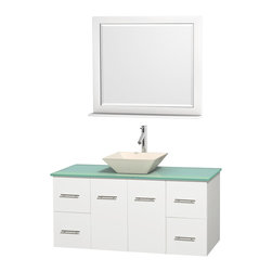 """Wyndham Collection - Centra 48"""" White Single Vanity, Green Glass Countertop, Pyra Bone Porcelain Sink - Simplicity and elegance combine in the perfect lines of the Centra vanity by the Wyndham Collection. If cutting-edge contemporary design is your style then the Centra vanity is for you - modern, chic and built to last a lifetime. Available with green glass, pure white man-made stone, ivory marble or white carrera marble counters, with stunning vessel or undermount sink(s) and matching mirror(s). Featuring soft close door hinges, drawer glides, and meticulously finished with brushed chrome hardware. The attention to detail on this beautiful vanity is second to none."""