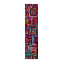 None - Brilliant Ribbon Blocks Runner (2'6 x 12') - Liven up your favorite living areas with this fun and chic hand-woven Brilliant Ribbon Blocks rug runner. This rug is made of all natural cotton ribbon that is comfortable and soft underfoot and it features a durable cotton backing.