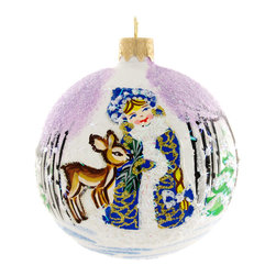 """Snow Maiden with a Deer"" Hand Painted Christmas Ball, Small - ""Snow Maiden with a Deer"" hand painted glass Christmas ball ornament is 3.15"" (80 mm) in diameter and made of hand blown glass by skillful artists in Ukraine. This see through ornament of Snow Maiden with a deer will be a beautiful addition to your glass Christmas collection. Made in Ukraine."