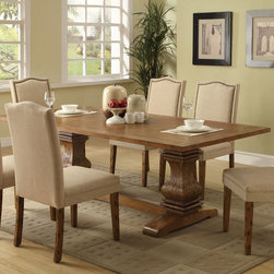 Coaster - Parkins Dining Table - The Parkins collection will help you create a sophisticated and distinctive dining area in your home. Made of poplar veneer, the bold shaped table pedestal base features gentle curves. The high back parson chairs feature simply curved crests in a soft fabric upholstery. Perfect for a snack with friends, casual weekend brunch, or afternoon tea, this dining group will complement your home decor.