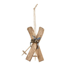 Home Decorators Collection - Wood Ski Ornaments - Set of 2 - Our Wood Ski Ornaments bring a nostalgic outdoor sports aesthetic to your tree. Embellished with ski poles and jingle bells, this Christmas tree trim is crafted of wood. Natural palette. Made of wood with bells.