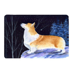 Caroline's Treasures - Starry Night Corgi Kitchen or Bath Mat 24 x 36 - Kitchen or Bath Comfort Floor Mat This mat is 24 inch by 36 inch. Comfort Mat / Carpet / Rug that is Made and Printed in the USA. A foam cushion is attached to the bottom of the mat for comfort when standing. The mat has been permanently dyed for moderate traffic. Durable and fade resistant. The back of the mat is rubber backed to keep the mat from slipping on a smooth floor. Use pressure and water from garden hose or power washer to clean the mat. Vacuuming only with the hard wood floor setting, as to not pull up the knap of the felt. Avoid soap or cleaner that produces suds when cleaning. It will be difficult to get the suds out of the mat.