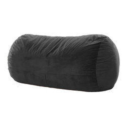OneUp Innovations, Inc - Jaxx Grand Lounger (7.5 Ft) Foam Beanbag, Velvish Black - Kick back & relax in the Jaxx Grand Lounger. This modern, foam filled beanbag adds casual, comfortable seating to your decor. The multifunctional shape can be used as a chair, a lounger or a Sofa replacement. Not surprisingly, it also works wonderfully as a bed for dorm rooms and spare rooms. Finally, your spare room can be used year around as a game room, play room and more. The shredded high-density foam filling provides cushiony support in any position. The Jaxx Grand Lounger molds to your every move, whether you are watching TV, browsing the internet or reading your favorite book. Seats up to three adults comfortably, adding a fouth is a bit cozy. Available in several designer fabrics and colors to blend in both modern and casual settings. Great for apartments, lofts and dorms! Approximately 7.5 ft x 3 ft x 3ft in size. Weighs up to 90 pounds. Made with 100% recycled/shredded furniture grade urethane foam filling. Covers zip-off for machine washing. Shipped compressed under vacuum to save on freight. Some assembly required. Please follow included instructions or view the assembly video online. All of the fabrics used for Jaxx products are designed to hold up to normal wear and tear for furniture. Microsuede is a durable, entry level fabric. It is lightweight, has virtually no fiber depth, and feels smooth to the touch. Microsuede is machine washable (tumble dry low). Velvish is our mid-range fabric. The Velvish is a denser, higher fiber compared to Microsuede. This results in a noticably softer feel. Pebble is our premium fabric featuring a more dense and slightly higher fiber than Microsuede, but not as high as Velvish. What sets the Pebble fabric apart from the others is the miniature cobblestone patterned texture cut into the fabric which adds visual flare to the fabric. All three fabrics are machin washable on cold setting and can be tumbled dried on low heat.