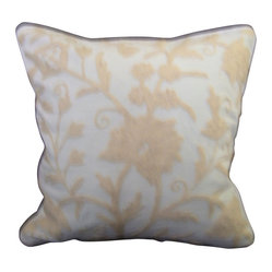 Crewel Pillow Tree of Life White on White Cotton Duck Standard (20x26)