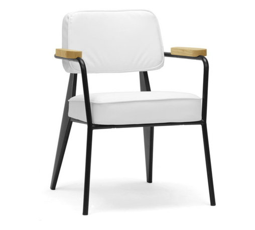 "Baxton Studio - Baxton Studio Lassiter Mid-Century Modern Accent Chair - A fusion of varying materials makes our Lassiter Chair a modern work of art. Made in China, this stunner features a black steel frame, white faux leather, and ash wood armrests. Non-marking feet and foam cushions finish it off. We love this piece not only as a living room chair but as a waiting room chair and office chair. The Lassiter Chair is fully assembled and should be wiped clean with a damp cloth. 25.12""W x 24.37""D x 32""H, seat dimension: 19.5""W x 20""D x 18.87""H , arm height: 26.1"""