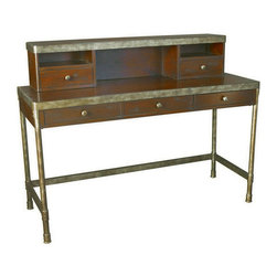 """Hammary - Hammary Structure Office Desk w/ Hutch - There is beauty in simplicity. And seldom does furniture possess more effortless beauty than Hammary's new """"Structure"""" collection. We have stripped away the excesses of modern design and focused on the bare essentials to produce an 11-piece collection that pays tribute to the precision and straightforward creations of the industrial age. Inspired by the stark, utilitarian designs from the early 20th Century, these pieces are crafted from metal and birch veneers and cleverly incorporate materials such as pipes, rivets, scythed wood, wheels and metal banding. Table tops are banded in metal - an idea borrowed from heavy-duty industrial trolleys - to create a unique touch of style and to enhance durability. Meanwhile, the heavily distressed finish creates a well-worn feel that will transform any room. This versatile group includes occasional tables and home office pieces, as well a media console and a rolling desk chair. Especially interesting is the vintage artist's easel, which comes with a universal mounting plate and has been repurposed to hold a flat-screen TV. Sometimes, sophistication comes in the most simple of designs. """"Structure"""" from Hammary. - T30020-T3002085-00-2-SET.  Product features: Two Drawers; One Drawer with Flip Down Keyboard Tray andRemoveable Pencil Caddy; Wire Management Opening. Product includes: Office Desk (1); Hutch (1). Office Computer Desk w/ Hutch belongs to Structure Collection by Hammary."""