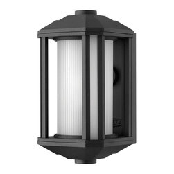 Hinkley - Hinkley-1396BK-GU24-Castelle - One Light Small Outdoor Wall Mount - Castelle�s transitional style features clean lines and a ribbed etched glass cylinder accented by etched amber corner panels, adding to its sophisticated look.   Black Finish with Etched Ribbed Glass  Lamp Quantity: 1  Lamp Type: GU24  Wattage: 26  Voltage: 120  Wet Location Certified  Material: Aluminum