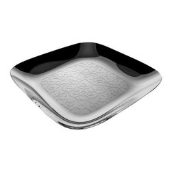 Alessi - Dressed Square Tray by Alessi - The Alessi Dressed Square Tray is an example of designer Marcel Wanders' subtle humor. Even though he uses an artistic language that is very rich and complex, a bit flowery, a little Baroque, Wanders manages to maintain a certain level of overall elegance and lightness. Made of stainless steel.Alessi, known as the Italian design factory, has manufactured household products since 1921. The stylish and fun items offered are the result of contemporary partnerships with some of the world's best designers of unique and modern home accessories.The Alessi Dressed Square Tray is available with the following:Details:Made of 18/10 stainless steel with relief decorationMirror Polished finishDesigned by Marcel WandersShipping:In Stock items ship within 1 business day. Others usually ship within 2 weeks unless otherwise noted.