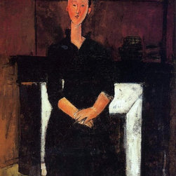 "Modigliani Woman Seated in Front of a Fireplace - 16"" x 20""  Print - 16"" x 20"" Amedeo Modigliani Woman Seated in Front of a Fireplace premium archival print reproduced to meet museum quality standards. Our museum quality archival prints are produced using high-precision print technology for a more accurate reproduction printed on high quality, heavyweight matte presentation paper with fade-resistant, archival inks. Our progressive business model allows us to offer works of art to you at the best wholesale pricing, significantly less than art gallery prices, affordable to all. This line of artwork is produced with extra white border space (if you choose to have it framed, for your framer to work with to frame properly or utilize a larger mat and/or frame).  We present a comprehensive collection of exceptional art reproductions byAmedeo Modigliani."