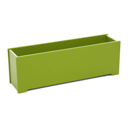 Loll Designs - Rectangle Planter 5 Gallon, Leaf Green - The Loll Flora Collection was created to work in a variety of outdoor garden settings. The recycled and recyclable poly material is made to withstand the test of time and extreme weather. In addition, the joinery on our modern containers allow for a slow, seeping drainage and holes can easily be drilled in the bottom if desired. All pieces are flat-packed with simple, fun, and intuitive assembly.